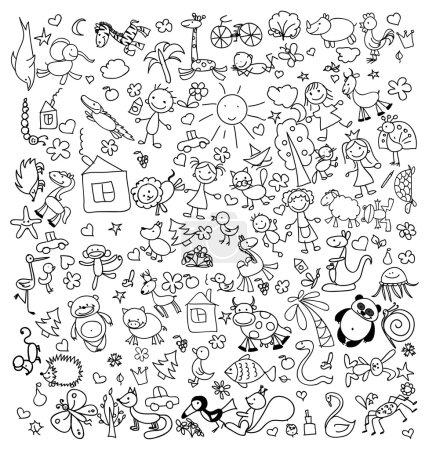 Illustration pour Dessins vectoriels pour enfants animaux - image libre de droit
