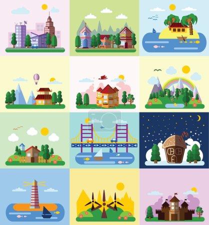 Set of different landscapes