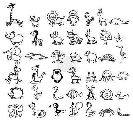 Illustration pour Dessins vectoriels de gribouillis d'animaux mignons - image libre de droit