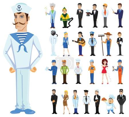 Photo pour Personnages de dessins animés de différentes professions et marins - image libre de droit