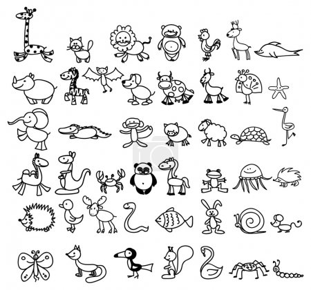 Illustration pour Ensemble de dessins animaliers pour enfants - image libre de droit