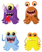 Set of drawings of different characters monsters germs bacteria aliens and other Halloween characters for your design prints and banners