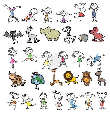 Illustration pour Dessins d'enfants d'animaux gribouillis et d'enfants - image libre de droit