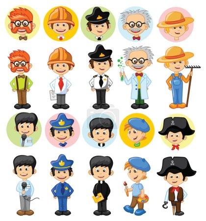 Photo pour Personnages vectoriels de dessins animés de différentes professions - image libre de droit