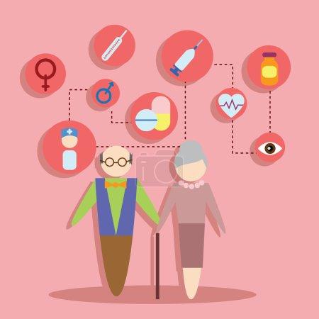 Illustration pour Concept d'icônes plates ensemble d'éléments de design infographique famille et santé illustration vectorielle - image libre de droit