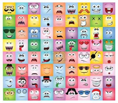 Illustration for Set of different cartoon emotions - Royalty Free Image
