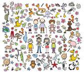 Doodle, zvířata, lidi, květiny