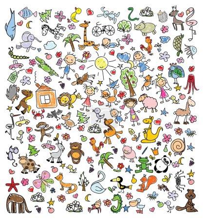 Illustration pour Dessins d'enfants de gribouillis animaux, personnes, fleurs - image libre de droit