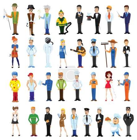 Illustration pour Personnages vectoriels de dessins animés de différentes professions - image libre de droit