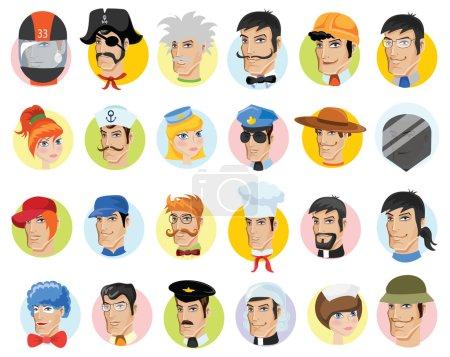 Photo pour Avatars vectoriels de bande dessinée de différentes professions - image libre de droit