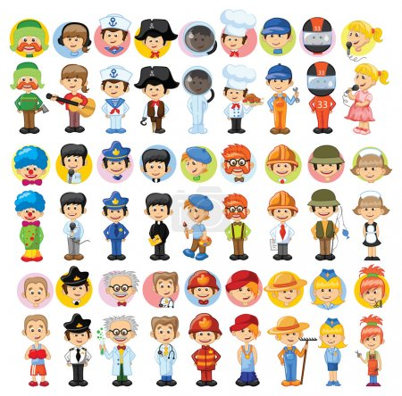 Illustration for Cartoon vector characters of different professions - Royalty Free Image