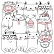 Vector Collection of Cute Cartoon Doodle Cats...