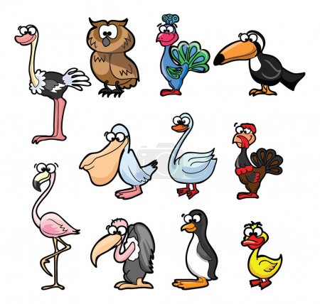 Illustration for Super set of cute cartoon birds - Royalty Free Image