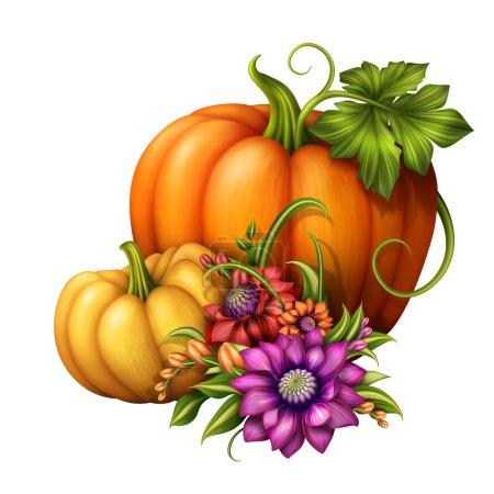 Photo pour Décoration saisonnière traditionnelle avec les citrouilles et les fleurs isolés sur fond blanc, illustration de vacances - image libre de droit