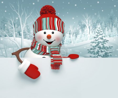 Photo for 3d cartoon happy snowman holding blank banner, winter background, Christmas greeting card - Royalty Free Image