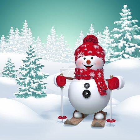Photo pour 3D amusant bonhomme de neige ski, fond nature hiver - image libre de droit