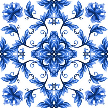 Photo pour Ornement de Gjel blanc abstrait motif floral transparent, bleu - image libre de droit