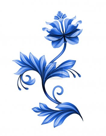 Photo for Artistic floral element, abstract gzhel folk art, blue flower illustration isolated on white background - Royalty Free Image
