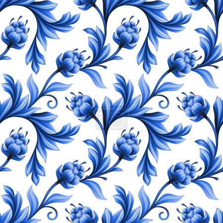 Photo for Abstract floral seamless pattern, background with folk art flowers, blue white gzhel ornament - Royalty Free Image