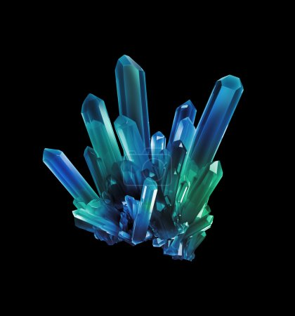 Photo for Blue green crystals, geological shapes, 3d object isolated on black background - Royalty Free Image