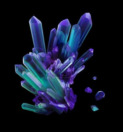 Photo pour Cristaux violets bleus, formes géologiques, objet 3D isolé sur fond noir - image libre de droit