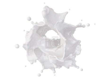 3d abstract dynamic milk splashing