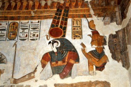 Beautiful ancient egyptian relief painting of the ...