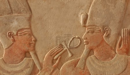 The god amun makes the gift of life (ankh) to the ...
