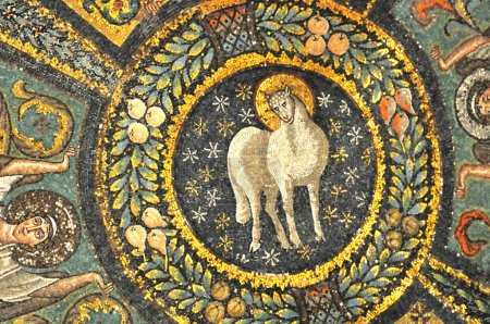 mosaics of the lamb of god in heaven