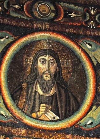 Ancient byzantine mosaic portrait of Jesus Christ