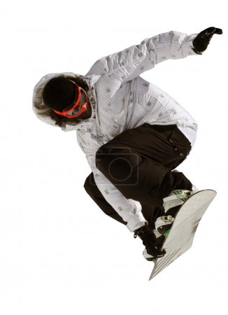 man jumping on a snowboard