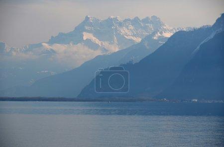 Lake Geneva on a misty spring day
