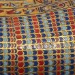 Beautiful ceramic and lapis lazuli inlay in an anc...