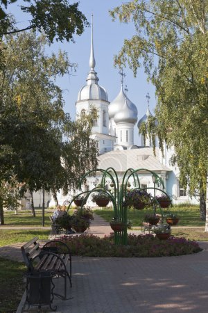 Park near the temple Orthodox Prince St. Alexander Nevsky in Vologda, Russia