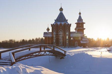 Temple of Christmas of the Prophet and Baptist John into the sunset in a village Zaruchevnya (Shilovskaya), Velsky district, Arkhangelsk region, Russia