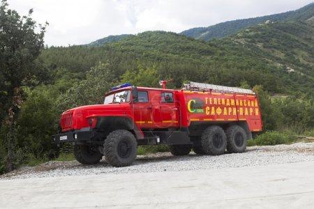 Fire Truck Safari Park on duty. Gelendzhik, Krasnodar region, Russia