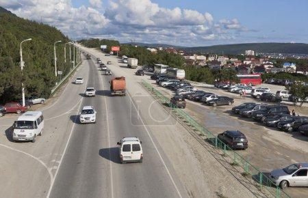 View of the Sukhumskoe highway with elevated pedestrian crossing near Safari Park in Gelendzhik, Krasnodar region, Russia