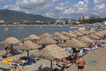 "Lots of having a rest people on the beach ""Gardens seas"" in the resort city Gelendzhik, Krasnodar region, Russia"