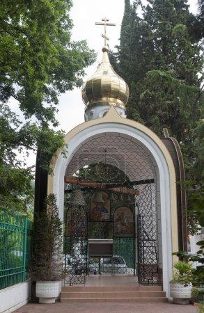 Belfry of temple of St. Nicholas in settlement Lazarevskoe, Sochi, Russia