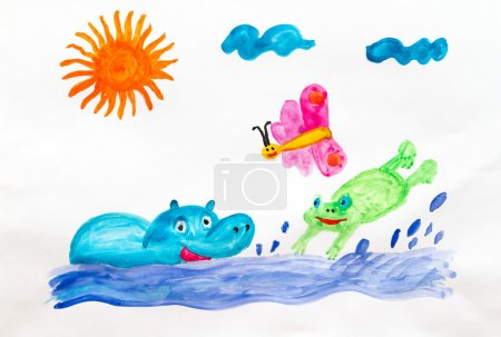 Photo pour Enfants dessin amusant baignade Hippo et grenouille - image libre de droit