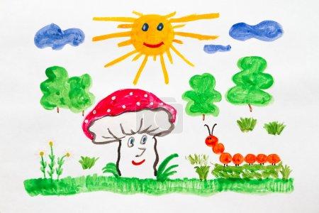 Photo pour Joyeux champignon et chenille dans la prairie - image libre de droit