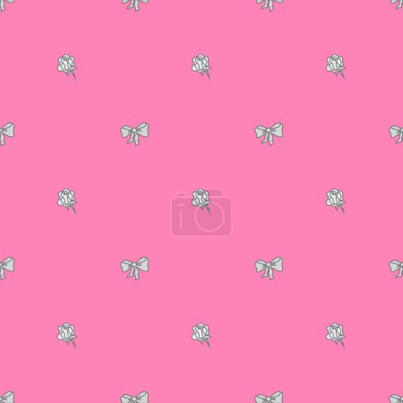 Seamless pattern bowtie and roses in pastel colours