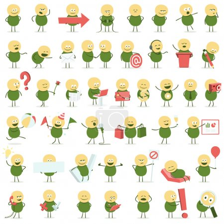 Cute vector character in different situations. Onl...