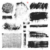Collection of vector textures dripping paint stains and brush strokes