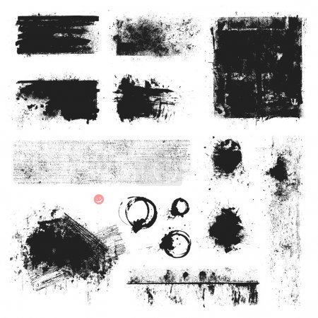 Illustration for Set of vector textures, stains and brush strokes. - Royalty Free Image