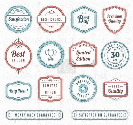 Illustration for Set of blue and red vintage vector labels. - Royalty Free Image