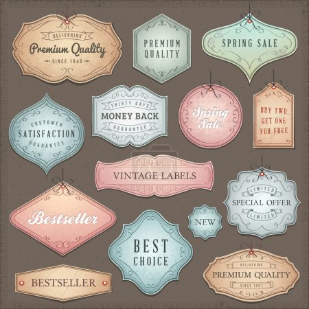 Illustration for Collection of worn vintage vector labels. - Royalty Free Image