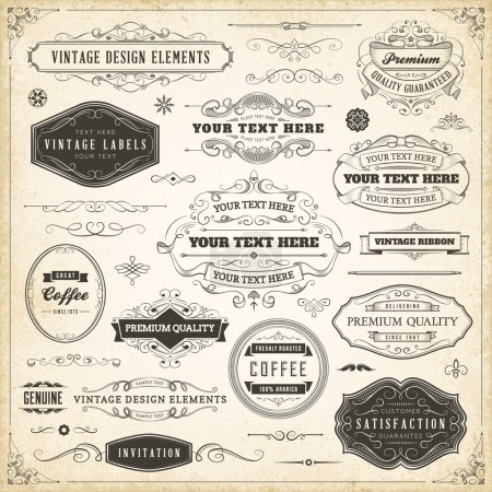 Illustration for Large collection of hand drawn vintage design elements. - Royalty Free Image