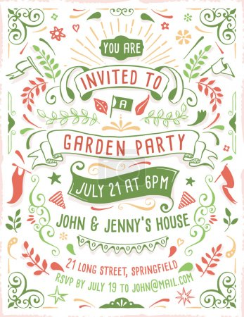 Illustration for Hand drawn summer party invitation template with ribbons, flowers and ornaments. Just add your own text. - Royalty Free Image