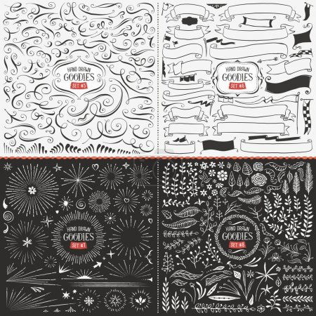 Illustration for Very large collection of hand drawn vector design elements such as swirls, ribbons, flags, bursts, flowers and leaves. - Royalty Free Image